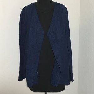 J. Jill PureJill Open Front Jacket Blue 100% Linen